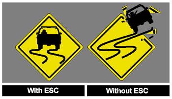 esc and no esc curvy road sign