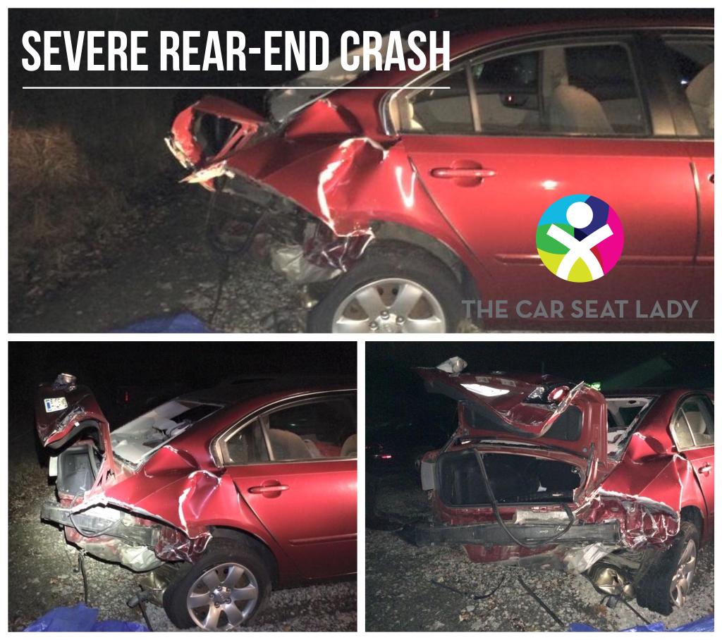 Severe rear-end crash that 22m/o survived unharmed