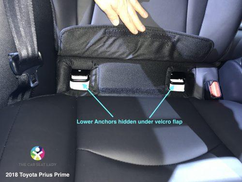 2018 Toyota Prius Prime lower anchors hidden under velcro flap