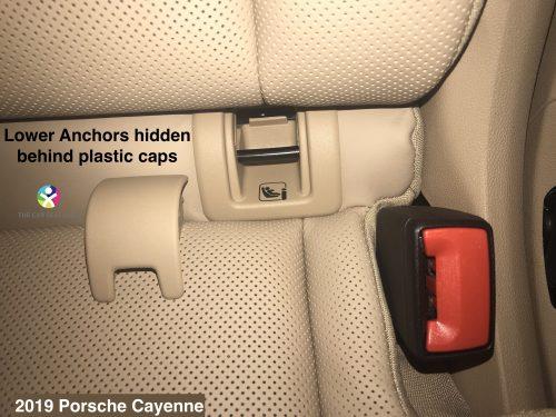 2019 Porsche Cayenne lower anchors hidden behind plastic caps