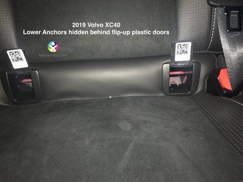 2019 Volvo XC40 lower anchors hidden behind flip up doors