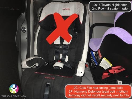 2018 Toyota Highlander 2nd Row Fllo RF 2C Harmony Defender 2P