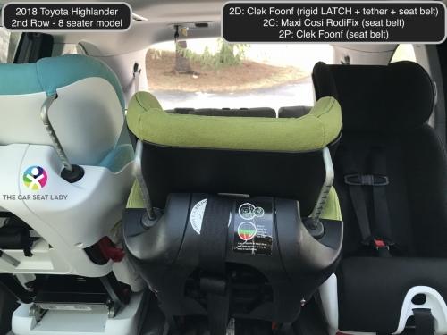2018 Toyota Highlander 2nd row Foonf FF 2D Fllo RF Foonf RF