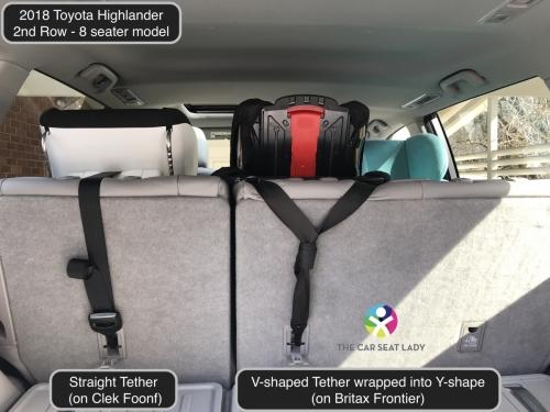 2018 Toyota Highlander 2nd row Foonf FF Frontier w tether Y Foonf RF