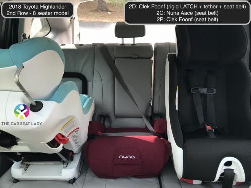 2018 Toyota Highlander 2nd row Foonf FF Nuna Aace Foonf RF