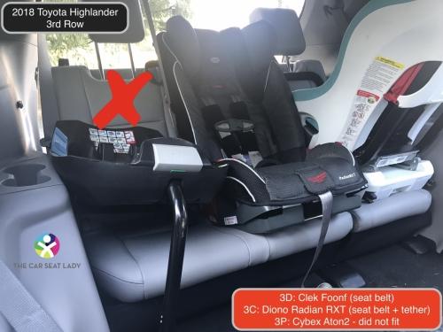 2018 Toyota Highlander 3rd row Foonf RF Radian FF Cybex does not fit